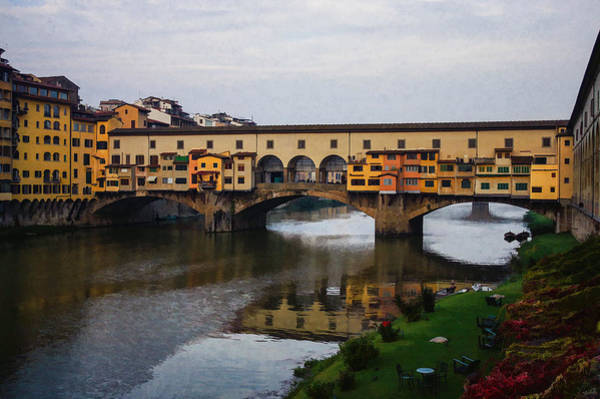 Digital Art - Impressions Of Florence - Ponte Vecchio Autumn by Georgia Mizuleva