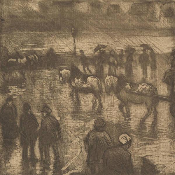 Relief - Impressions Of Rain, Rouen by Camille Pissarro