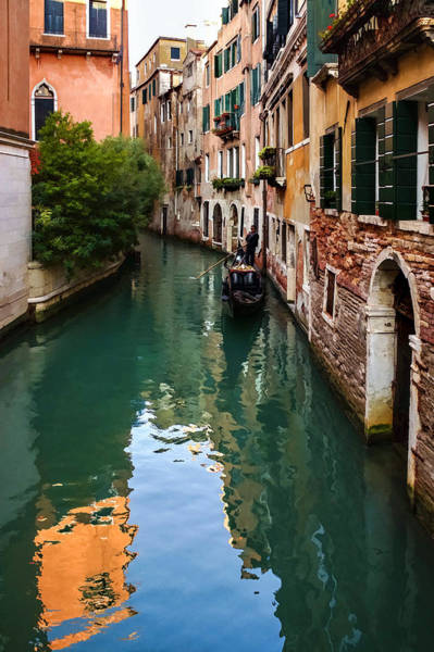 Digital Art - Impressions Of Venice - Green Reflections And A Gondola by Georgia Mizuleva