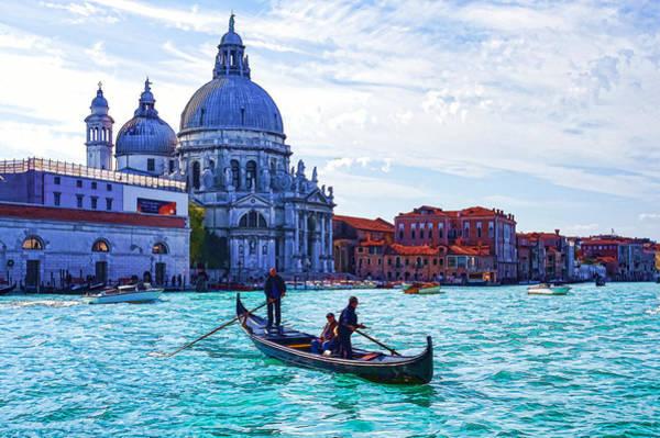 Digital Art - Impressions Of Venice Italy - Traghetto Crossing The Grand Canal by Georgia Mizuleva
