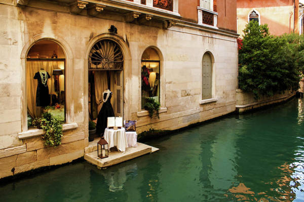 Painting - Impressions Of Venice - Shopping For A Black Dress At An Elegant Canalside Boutique by Georgia Mizuleva