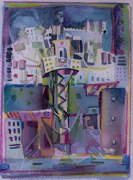Wall Art - Painting - Improv City Tree by Mindy Newman