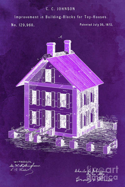Wall Art - Digital Art - Improvement In Building Blocks For Toy Houses, Patent Year 1872, Dark Purple by Drawspots Illustrations