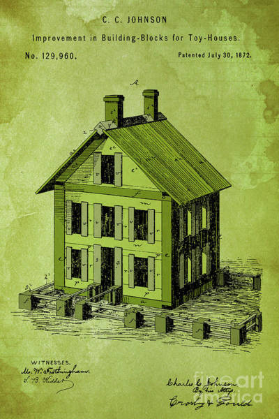 Wall Art - Digital Art - Improvement In Building Blocks For Toy Houses, Patent Year 1872, Green by Drawspots Illustrations