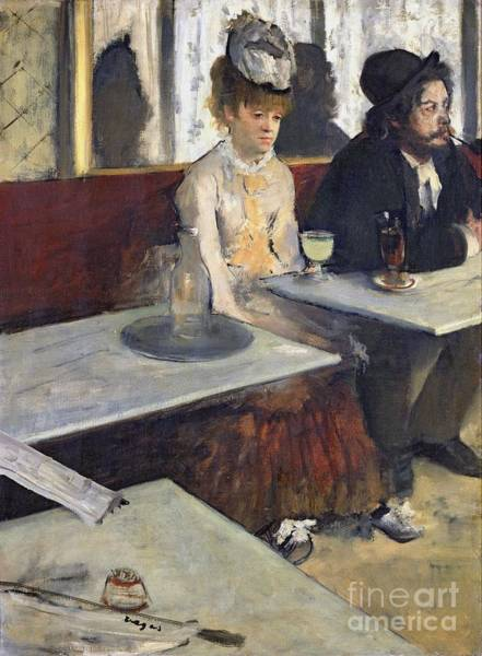 Sad Painting - In A Cafe by Edgar Degas