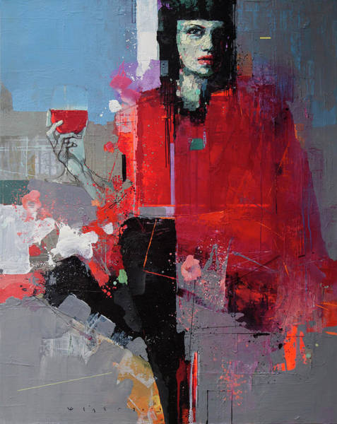 Wall Art - Painting - In A Red Poncho by Viktor Sheleg