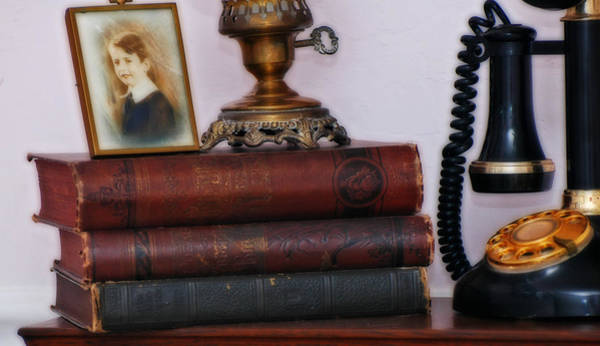 Photograph - Vintage Photo, Books, Lamp And Phone From Another Time by Ginger Wakem