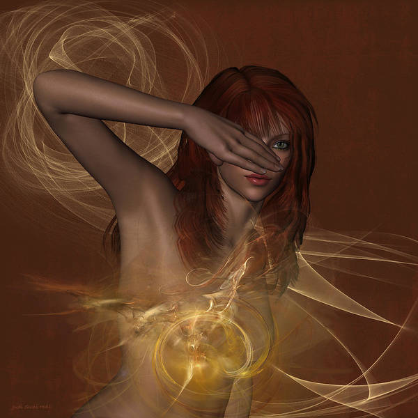 Digital Art - In Awe A Nude Portrait by Judi Suni Hall
