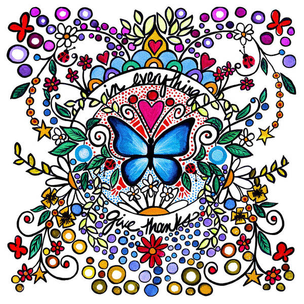 Doodle Painting - In Everything Give Thanks by Cindy Thornton