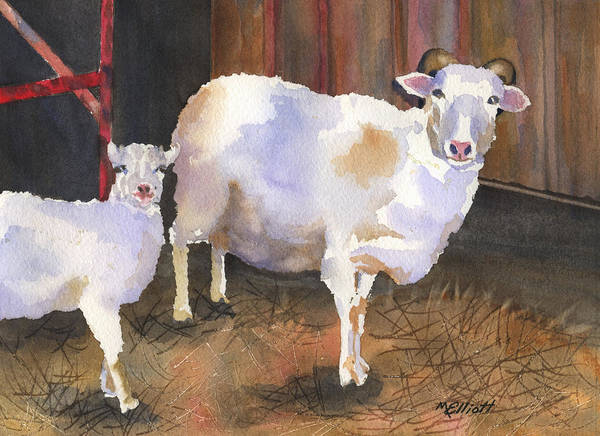 Sheep Painting - In For The Night by Marsha Elliott