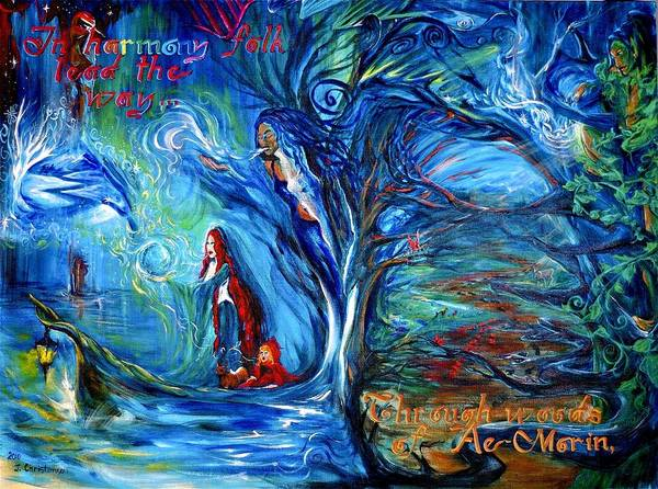 Double Helix Painting - In Harmony Folk Lead The Way... by Jennifer Christenson