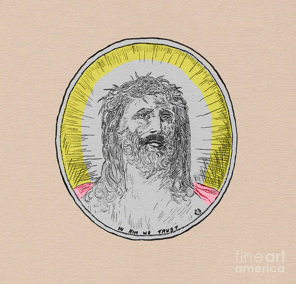 Drawing - In Him We Trust Colorized by Donna L Munro