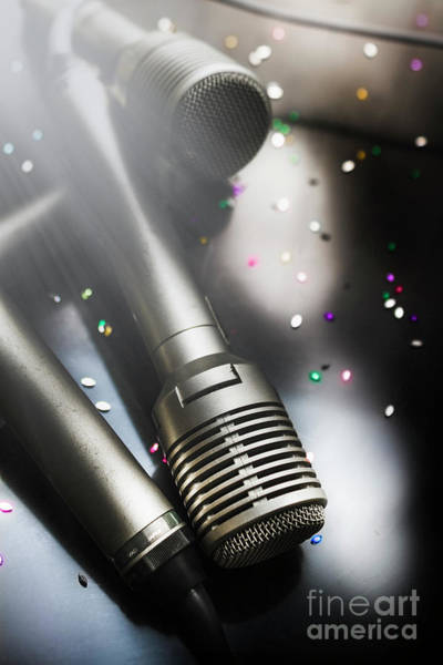 Microphone Photograph - In Lights And Glitter by Jorgo Photography - Wall Art Gallery