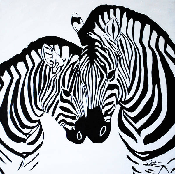 Zebra Painting - In Love by Sonali Kukreja