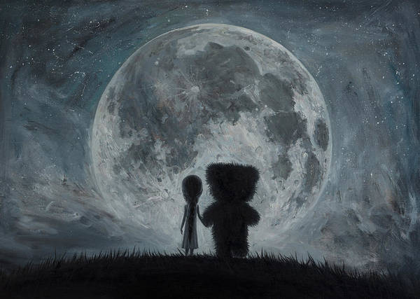 Teddy Bear Painting - In My Dreams You Always Bring Me To The Moon... by Adrian Borda