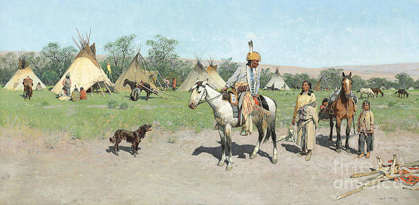 Indian Camp Painting - In Pastures New by Henry Francois Farny