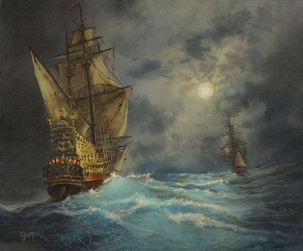 Wall Art - Painting - In Pursuit by Tom Shropshire