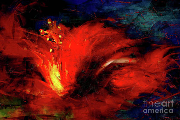 Hibiscus Painting - In Red Abstract Hibiscus by Shanina Conway