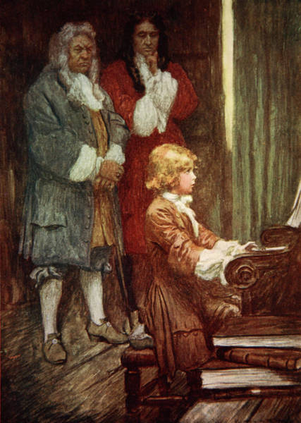 Piano Player Painting - In Silence They Waited While Handel Played by Arthur C Michael