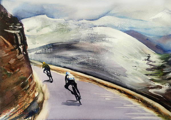 Bike Racing Painting - In The Alps by Shirley Peters