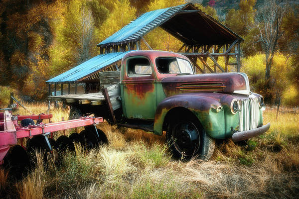Photograph - In The Autumn Of Life - 1945 Ford Flatbed Truck by TL Mair