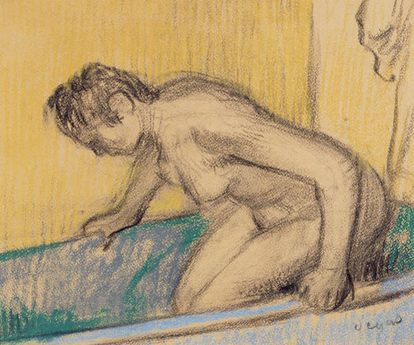 Having Sex Drawing - In The Bath by Edgar Degas