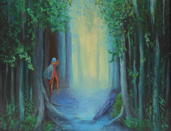 Wall Art - Painting - In The Faery Forest by Janne Henn