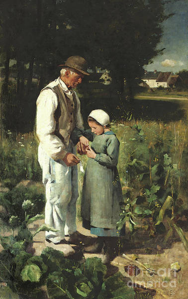 Allotment Wall Art - Painting - In The Fields, Anvers Sur Oise, 1882 by William Edward Stott