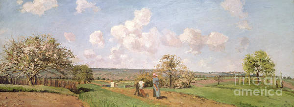 Worker Painting - In The Fields by Camille Pissarro
