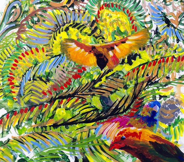 Painting - Birds In The Forest by Lynn Hansen