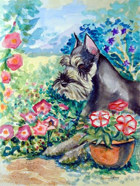 Schnauzer Wall Art - Painting - In The Garden - Schnauzer by Lyn Cook