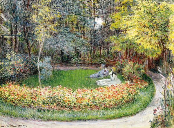 Jardin Wall Art - Painting - In The Garden, 1875 by Claude Monet