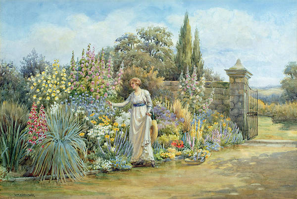 Victorian Garden Wall Art - Painting - In The Garden by William Ashburner