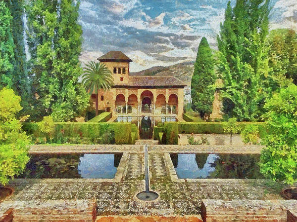 Digital Art - In The Gardens Of Alhambra by Digital Photographic Arts