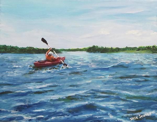 Wall Art - Painting - In The Kayak by Jack Skinner