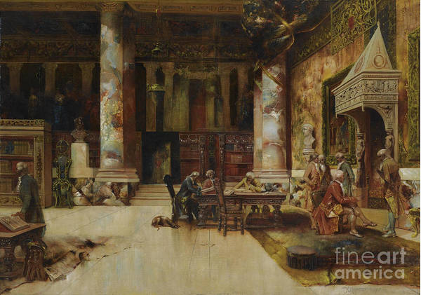 Painting - In The Library by Frank Lebrun Kirkpatrick
