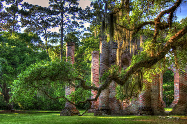 Photograph - In The Light Spanish Moss Old Sheldon Church Ruins by Reid Callaway