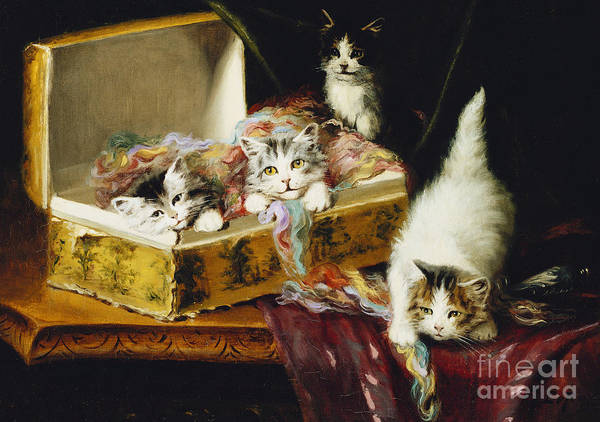 Kitten Play Wall Art - Painting - In The Needle Box by Jules Le Roy