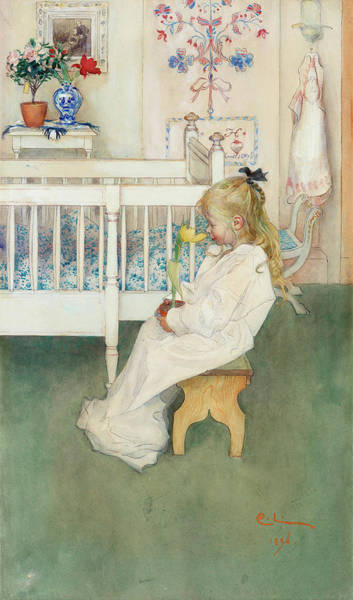Wall Art - Painting - In The Night Shirt - Lisbeth With Yellow Tulip by Carl Larsson