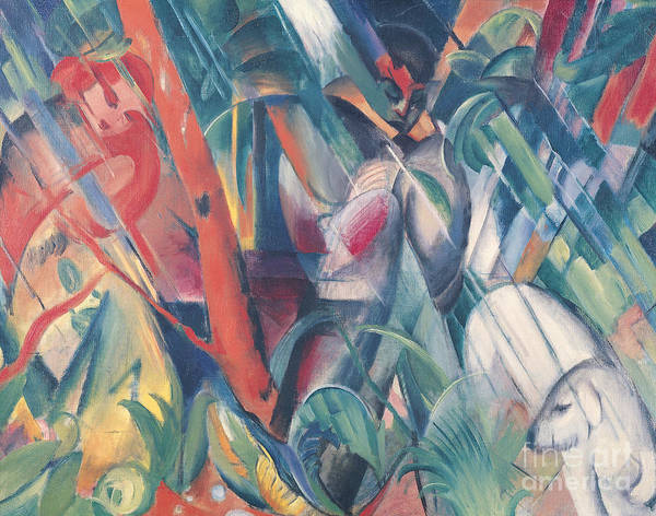 The Blue Rider Wall Art - Painting - In The Rain by Franz Marc