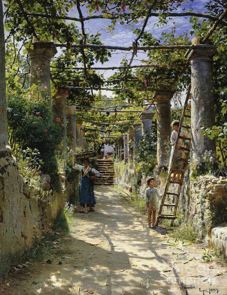 Wall Art - Painting - In The Shadow Of An Italian Pergola by Peder Monsted