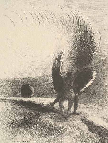 Relief - In The Shadow Of The Wing, The Black Creature Bit by Odilon Redon