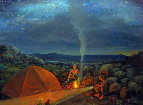 Camping Wall Art - Painting - In The Spotlight by Donna Tucker
