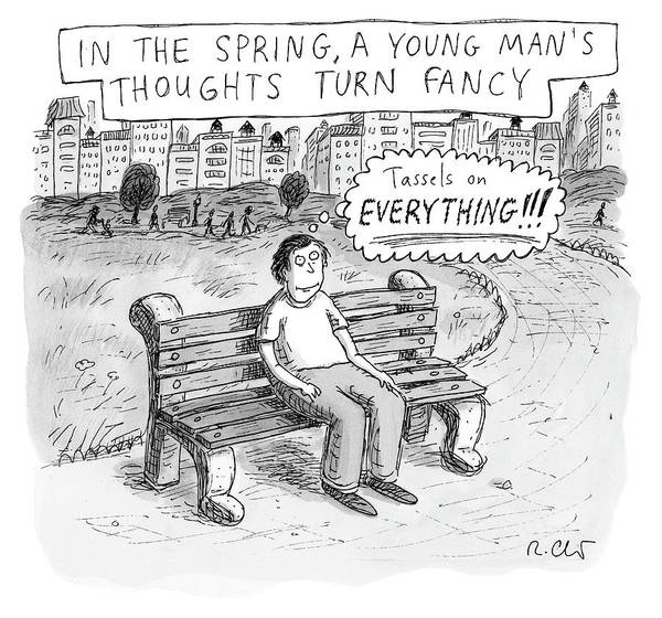 Bench Drawing - In The Spring by Roz Chast