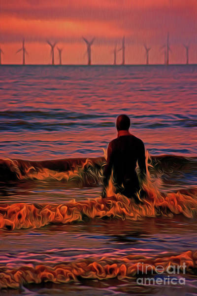Liverpool Skyline Digital Art - In The Surf At Sunset by John Wain