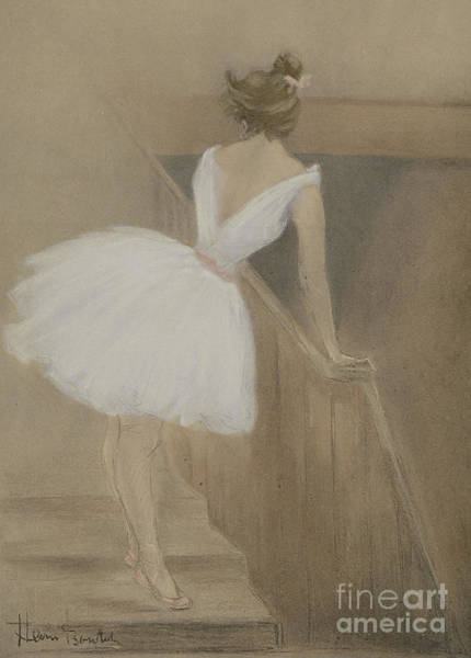 Lady In Waiting Painting - In The Wings by Henri Boutet