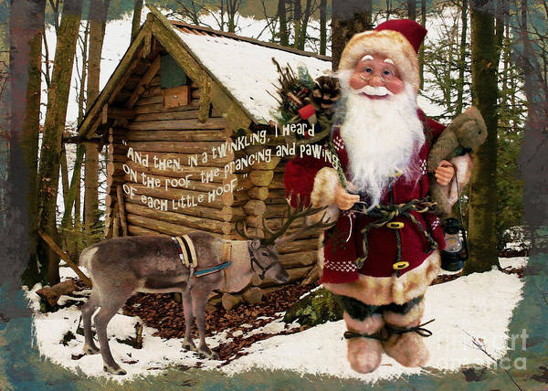 Digital Art - In The Woods Santa Card 2015 by Kathryn Strick