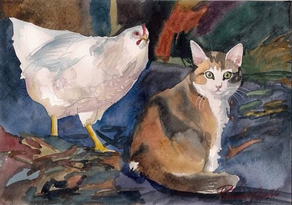 Calico Kitten Wall Art - Painting - In The Yard by Yuliya Podlinnova