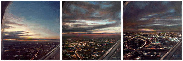 Wall Art - Painting - Inbound - Newark Triptych by Sarah Yuster