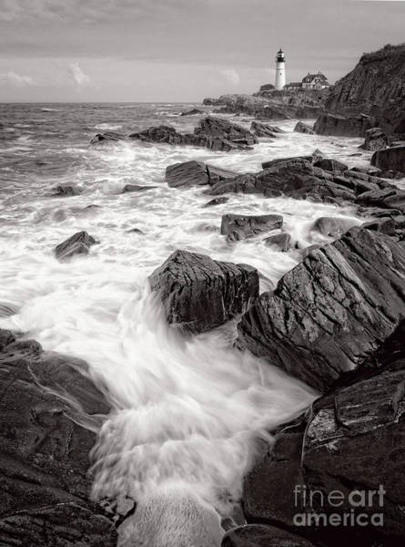 Photograph - Incoming Wave, Portland Head Light, Cape Elizabeth, Me #79000 by John Bald